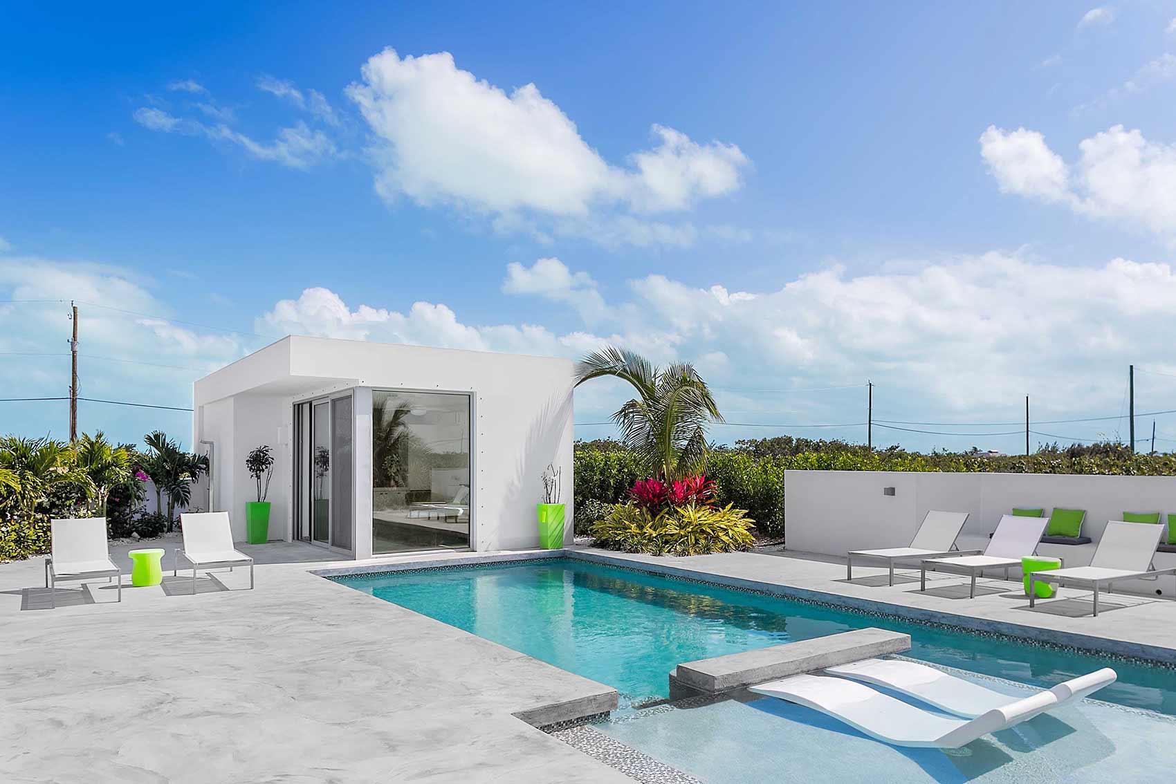 The luxury villa rental pool