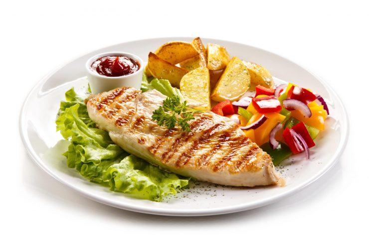 Grilled Chicken Breast, Steamed Vegetables and Sweet Potato Fries