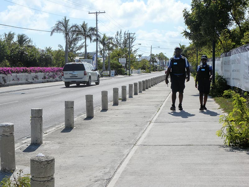 Police officers patrolling in TCI