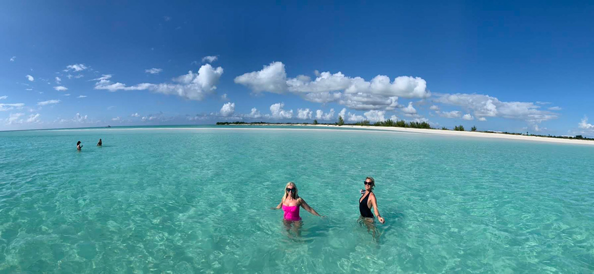 swimming in turquoise water of TCI